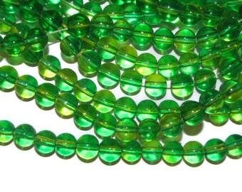 8mm Yellow Green Glass Beads - 60 Beads