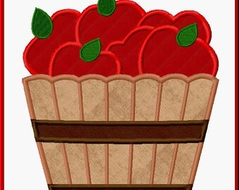 Bushel Of Apples Digitized Applique Design For Embroidery Machines - Apple Orchard, Apple Picking - Instant Download