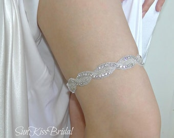 Crystal Bridal Garter, Wedding Keepsake Garter with Rhinestones, GRACE