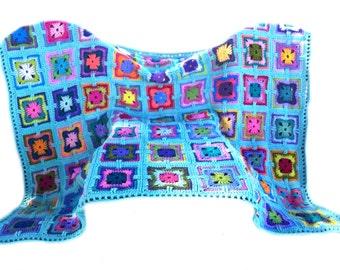Crochet afghan crochet blanket handmade blanket art deco kaleidoscope granny square afghan, seafoam border, MADE TO ORDER