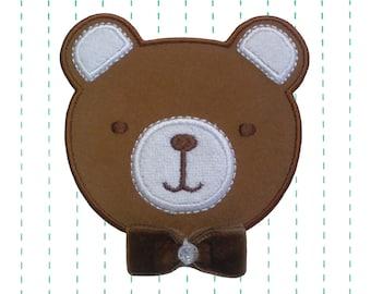 Bear Iron on Patch Applique  - Velvet Bow Bear