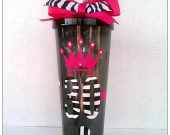 Customized Queen crown, 30th birthday Acrylic cup with lid and straw