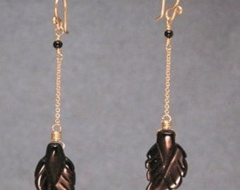 Black onyx leaves and chain earrings Venus 201