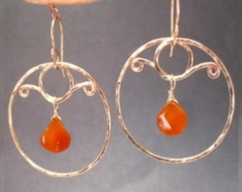 Hammered circles with carnelian Nouveau 194
