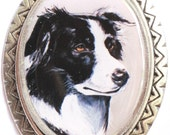 border collie original wearable art pin