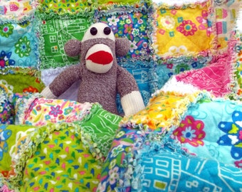 Rag Blanket, Flannel, Twin Bed Quilt or Large Blanket - Houses
