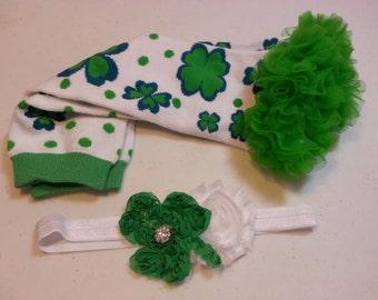 St. Patricks Day Leg Warmers, White with Shamrocks and Polka Dots, Green Ruffle with Shamrock Headband, St Patrick's Baby, Matching Headband