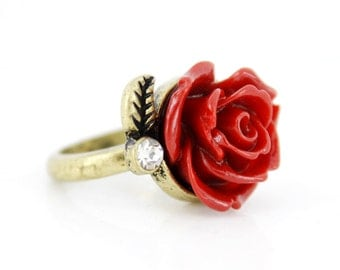 Beautiful Gold-tone Red Rose/Flower Crystal Ring,Size 7,K7