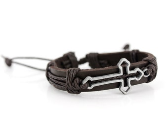 Cool Punk Rocker Dark Brown Leather Cord Bracelet with Hollow Cross Pendant