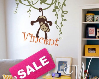Vines, Monkeys and Custom Name - Nursery, Kids Wall Decal