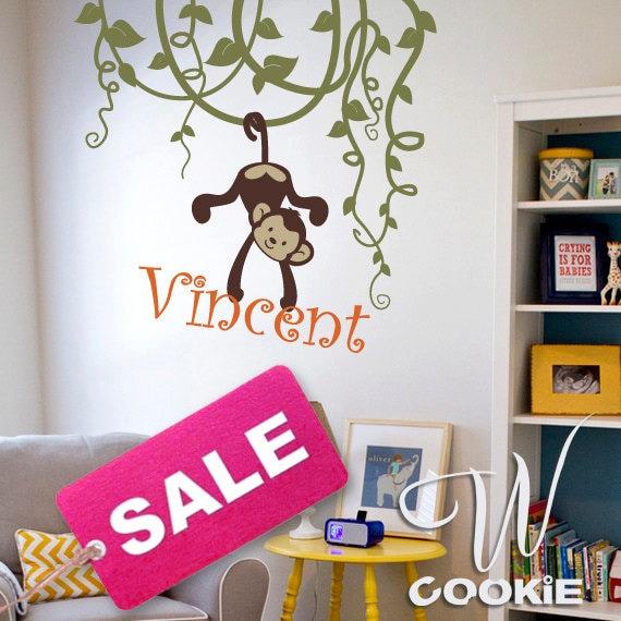 Vines, Monkeys and Custom Name - Nursery, Kids Wall Decal