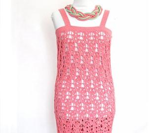Pink summer dress,hand crochet dress,Tunic,Bamboo dress,Beach Cover-up ,Summer dress women Free knigting neclace