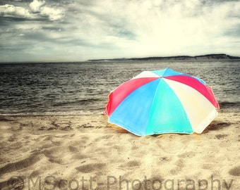 Striped Beach Umbrella Photography, Beach House Photograph, Summer, Beach Home and Nursery Decor fPOE