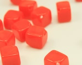 Bead, Preciosa® Czech pressed glass, opaque orange, 8.5x6.5mm dice. Qty 10, Czech Glass Bead