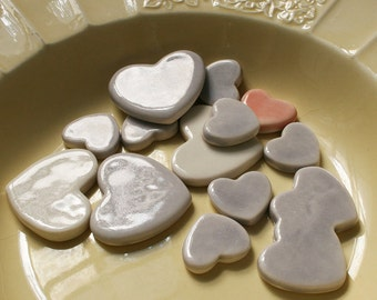 14 Grey, White and Pink Porcelain Heart Tiles, small, medium and large