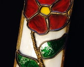 Red Flower Green Leaf Stained Glass Box