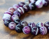 Striped Agate Beads, Purple, 8mm Round - 15 inch strand - eGR-AG58205-8