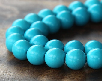 Magnesite Beads, Blue, 10mm Round - 15.5 inch strand - eGR-MG004-10