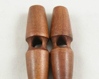 6 pcs 1.57*0.39 inch Retro A groove Olive shape Ox Horn Wood Shell Buttons for Coats Sweaters