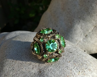 Sparkly Vintage Large Adjustable Ring with Green Glass Jewels