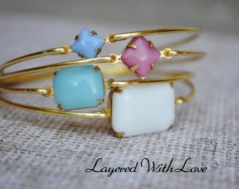 Pastel Bangle SET OF FOUR- Vintage Glass Bangle- Gold Bangle- Stone Bangle- Bridesmaids Gifts- Personalized Bangle- Name Bangle- Initial