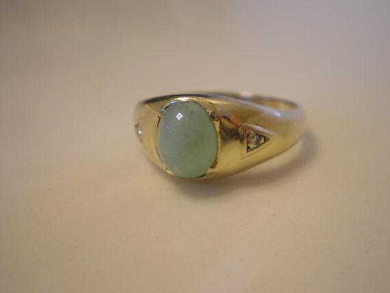 Vintage 10 Kt Gold Green Linde Star Sapphire Mens Ring Size 10