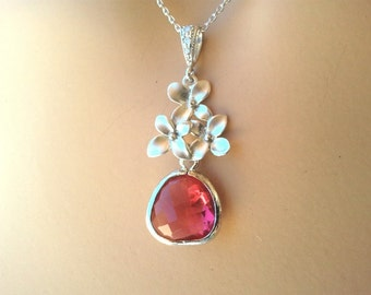 Cherry Blossom with Fuchsia Pink glass necklace - Pendent necklace,bridesmaid gifts,Wedding jewelry,christmas gift, Gemstone, Valentine' Day