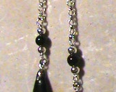 delicate teardrop in onyx and sterling