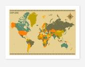 WORLD MAP, Giclee Fine Art Print, Modern Wall Art, Home Decor