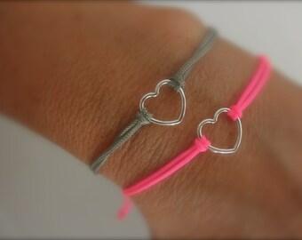 sterling silver valentine heart bracelet  - choose cord color-