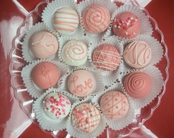 Valentine's Day Candy Red Velvet Truffle cake balls 12 hand Made Decadent White Chocolate truffle balls Valentine gift Wedding Favor