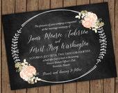 Vintage Chalkboard Wedding Invitation & RSVP