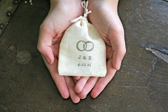 Personalized wedding ring bag.  Ring pillow alternative, ring bearer accessory, ring warming ceremony.  Ring motif with initials and date.