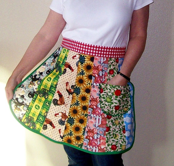 Down on the Farm Apron-Patchwork Half Apron-One Size