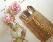 Eco friendly  Burlap Flatware Holders , Wedding Table Setting,Rustic Flatware Pockets