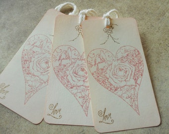Wedding wish tree tags, romantic fairytale gift favors hand stamped lovebirds and heart in soft pink, alternative guest book, set of 10.