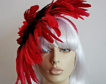 Scarlett  Seduction- Sensual Red & Black Rooster Feather Peony Fascinator
