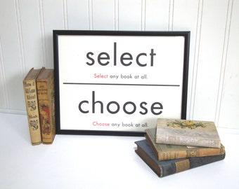VINTAGE FLASH CARD - Select Choose A Book - Synonym - Children - Art Print - Room Decor - 11 x 14 - Black White - Industrial - Sign - Shop