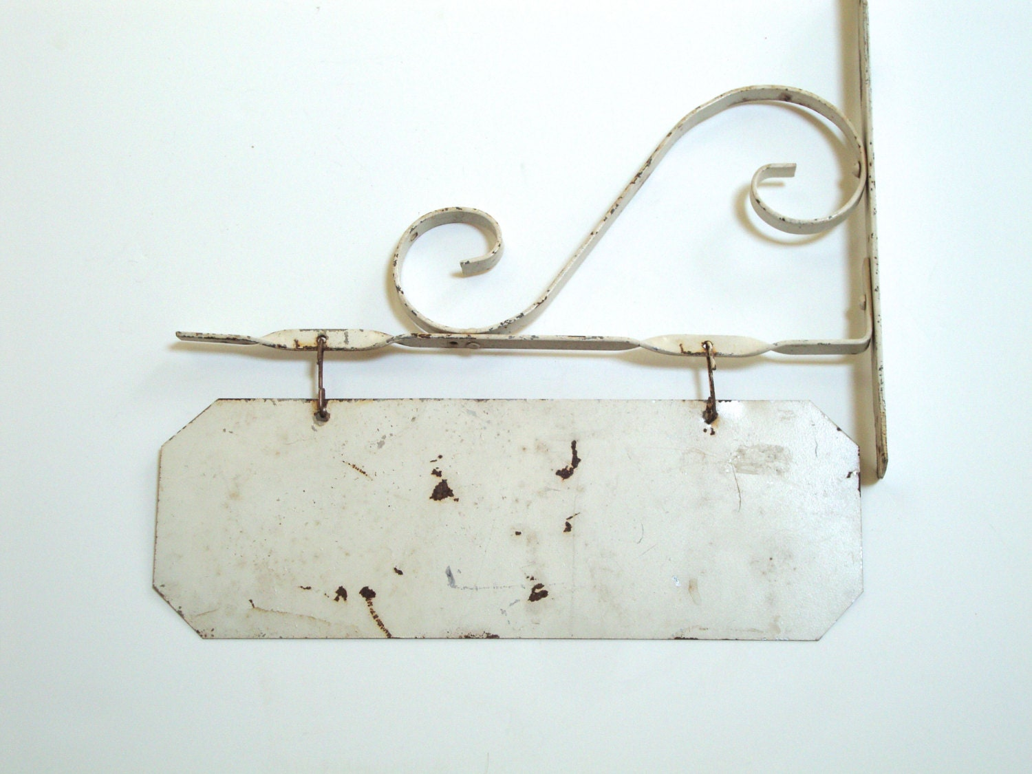 Vintage Hanging Sign Metal Scrolly Shop Store Pole Or Home