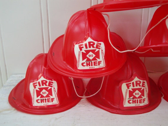 VINTAGE FIRE CHIEF Hat - Hats - Red - Firefighter - Birthday Party Favors - Red Plastic -