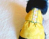 Dog's Clothing Custom Order Dress for Small Dog. - Golden Tan with Chicky and Dark Green Ribbon Trim Pet Clothes