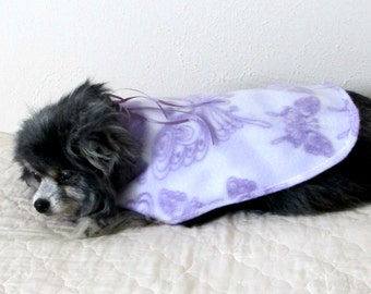 Small Dog Coat, Dog Coat, Fleece Butterfly Print, Made to Order, Teacup Toy Size, Lavender and White with Satin Bow