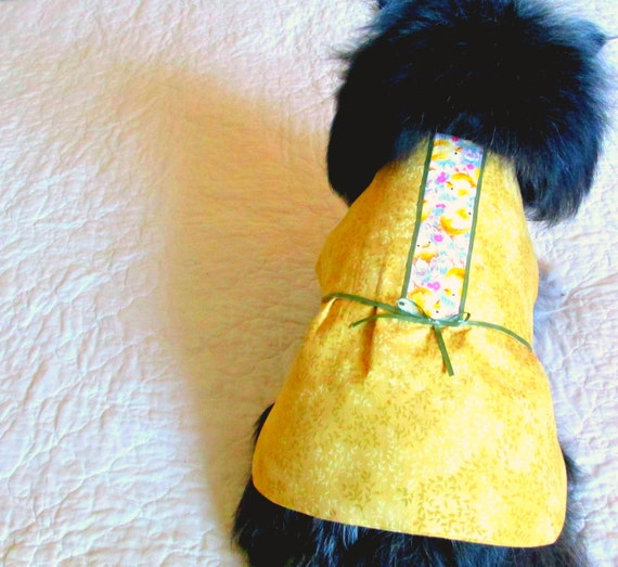 Dog Clothing Custom Order Dress for Small Dog. - Golden Tan with Chick and Dark Green Ribbon Trim Pet Clothes Pomeranian Yorkie
