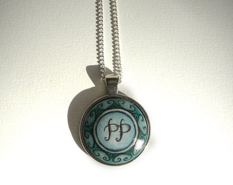 Initials Necklace, Hand Painted Monogram, Personalized Necklace, Personalized Art and Craft, Wish Letters, Letter Necklace