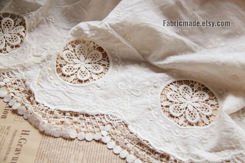 White Cotton Eyelet Border Fabric Lace Border By Fabricmade