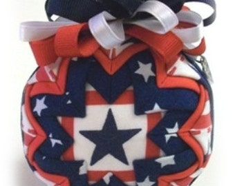 Stars and Stripes Forever Patriotic Unique Handmade Keepsake Quilted Christmas Ornament