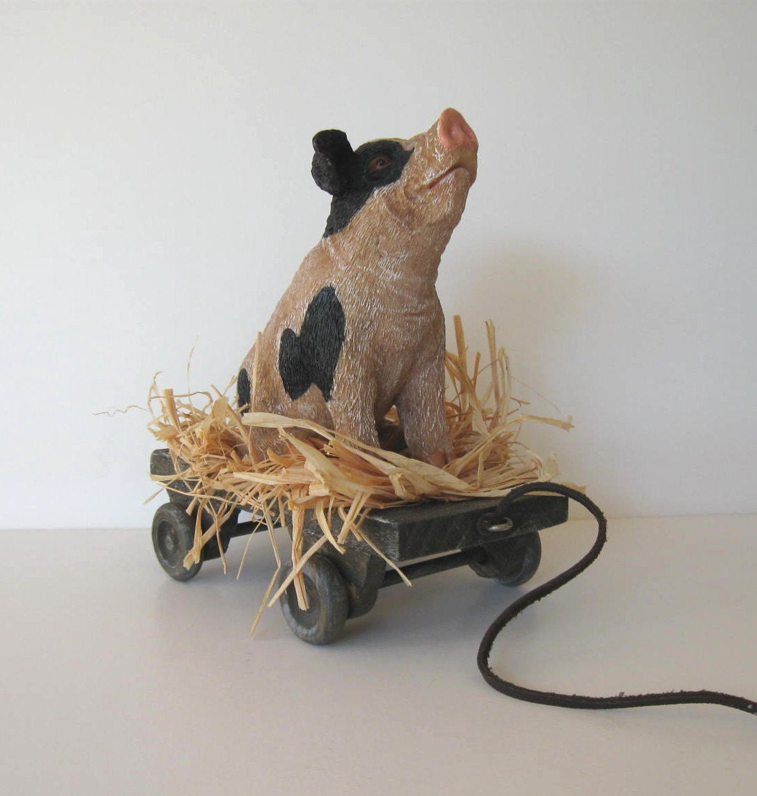 Wooden Pig Pull Toy Vintage Toy Primitive Folk Art Country