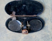 Antique Spectacles Steampunk Optical Eye Glasses Gold Frame Leather Case