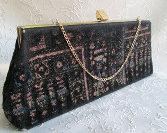 Vintage Velvet Printed Clutch Evening Bag Purse