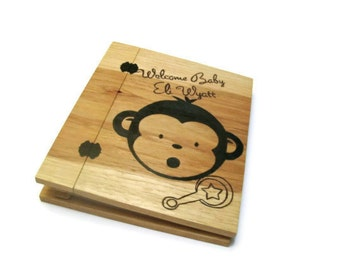Baby Monkey Wood Scrapbook ONLY- Photo Album Holds Standard 8.5x11 Pages